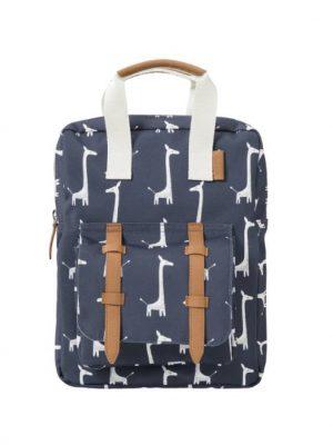 Τσάντα πλάτης της εταιρείας Fresk. Τσάντα σε μπλε χρώμα με καμηλοπαρδάλεις.