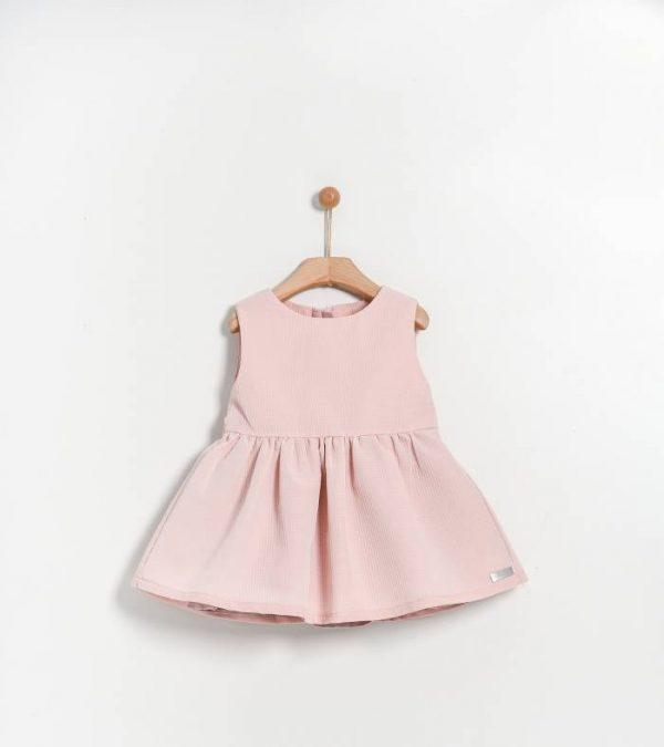 Βρεφικό φόρεμα ροζ με ανάγλυφο ύφασμα Yell-oh