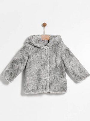 Παλτό γούνινο γκρι Yelloh για κορίτσια