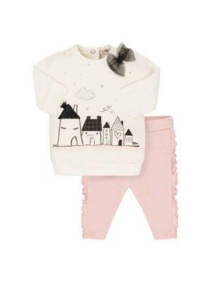 Σετ φόρμας λευκό-ροζ EMC για κορίτσια