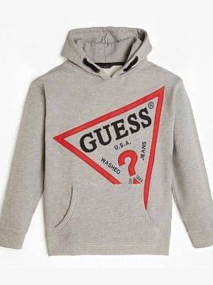 Μπλούζα φούτερ γκρι Guess με κουκούλα και τσέπη