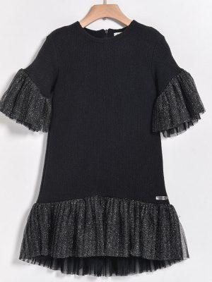 Φόρεμα πλεκτό με τούλι Yelloh μαύρο