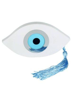 Μπομπονιέρα βάπτισης ματάκι σε γαλάζιο και ασημί